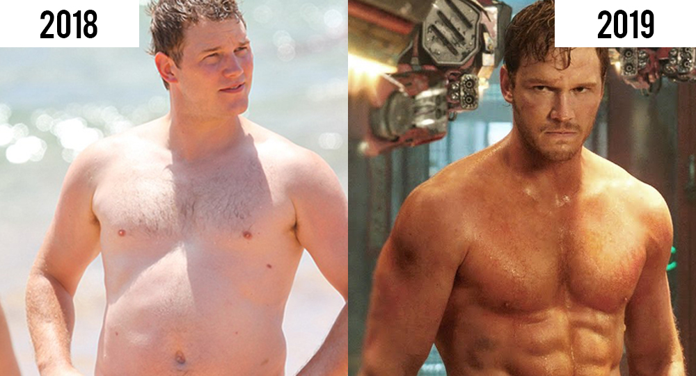 Fit and heavy Chris Pratt side-by-side